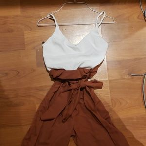 White and Brown jumpsuit